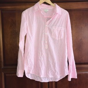 J Crew pink and white striped tunic button down